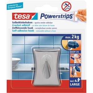 Haken tesa Powerstrips 58120 - eckig Edelstahl bis 2 kg für glatte Oberflächen Metall