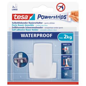 Rasiererhalterung tesa Powerstrips Waterproof 59703 - weiß bis 2 kg für Badezimmer