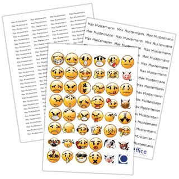Gratiszugabe IVS-Zugabe Smiley-Sticker und individuell bedruckte Namensetiketten - 47 Smileys - über 170 mit Wunsch-Aufdruck