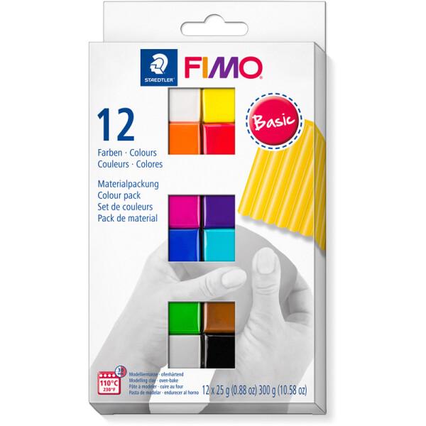 Modelliermasse Staedtler FIMO soft 8023C12 - farbig sortiert (12a) basic colours ofenhärtend 25 g 12er-Set