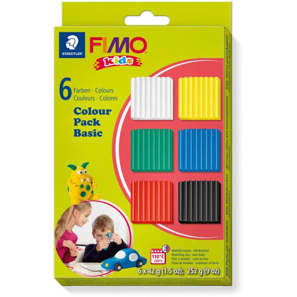 Modelliermasse Staedtler FIMO Kids 8032 - farbig sortiert (6a) Basic Colours ofenhärtend 42 g 6er-Set