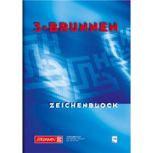 Zeichenblock Brunnen 47319 - A3 297 x 420 mm blau 10 Blatt mit 4 Gewebe-Einsteckecken 120 g/qm²