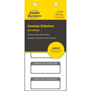 Inventaretikett Avery Zweckform 6901 - auf Bogen 60 x 40 mm schwarz permanent Folie für Handbeschriftung Pckg/50