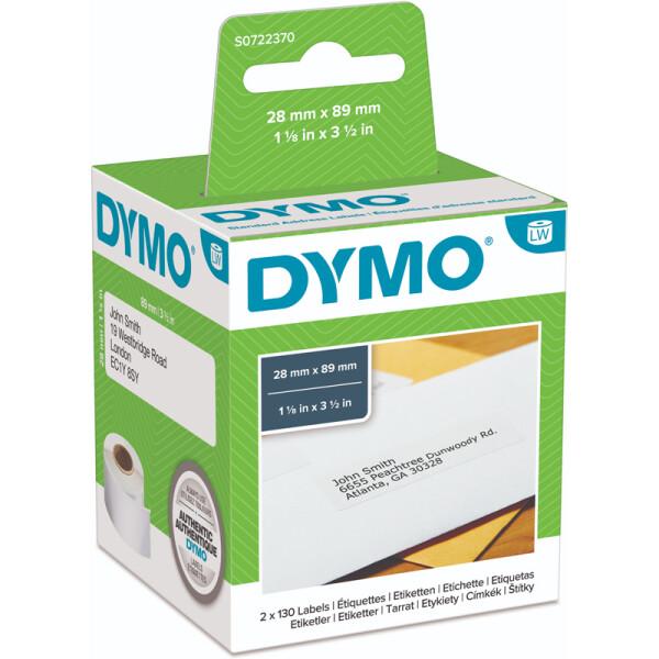 Dymo Etikett Gratisaktion 6+1 99010P6+1 - Rolle Adress-Etikett 28 x 89 mm weiß permanent Thermopapier für Thermodrucker Karton/14x130