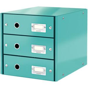 Schubladenbox Leitz Click & Store 6048 - 286 x 282 x 358 mm eisblau 3 Schubladen mit Schildhalter Graukarton
