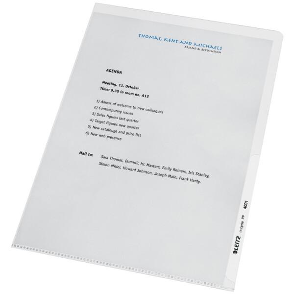 Sichthülle Leitz Recycle 4001 - A4 313 x 220 mm farblos oben/rechts offen 0,14 mm Recycle-Folie Pckg/100