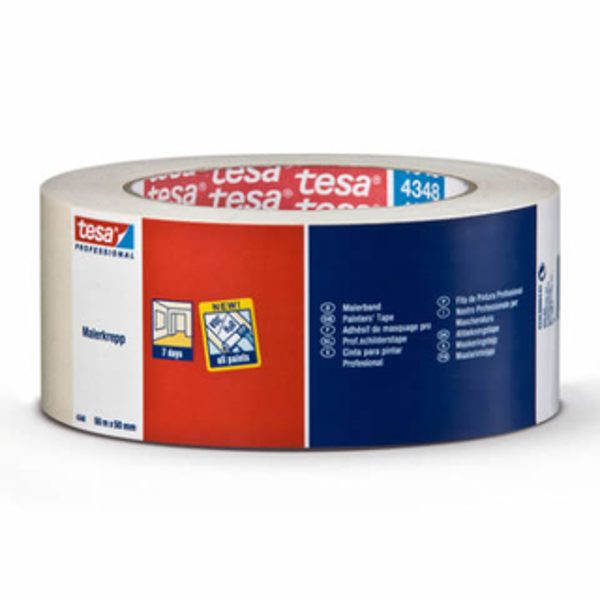 Abdeckband tesa tesakrepp 4348 - 30 mm x 50 m hellbeige Kreppband für Industrie/Gewerbe-Anwendungen