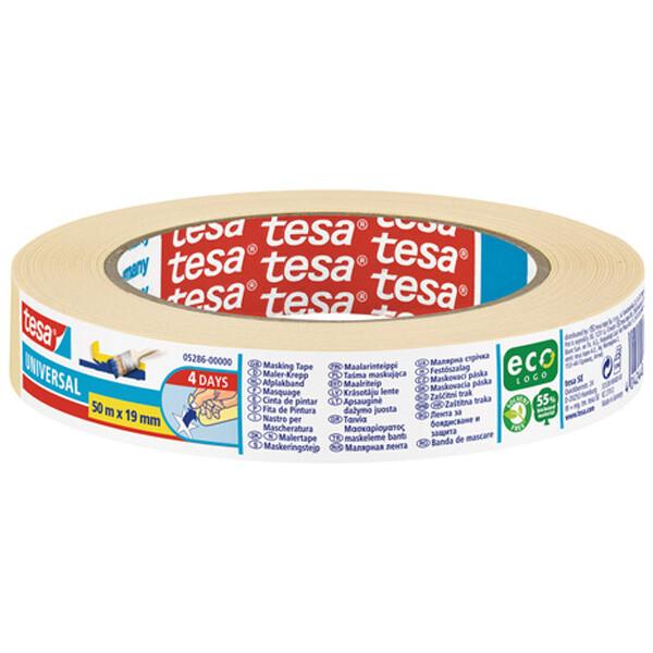 Abdeckband tesa Malerkrepp Universal 5286 - 19 mm x 50 m beige Kreppband für Privat/Endverbraucher-Anwendungen