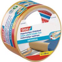 Verlegedoppelband tesa Universal 56170 - 50 mm x 5 m farblos Befestigungsklebeband für Privat/Endverbraucher-Anwendungen