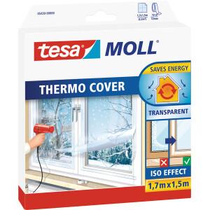Fensterisolierfolie tesa tesamoll Thermo Cover 5430 - 1,7 x 1,5 m transparent selbstklebend mit Doppelklebband