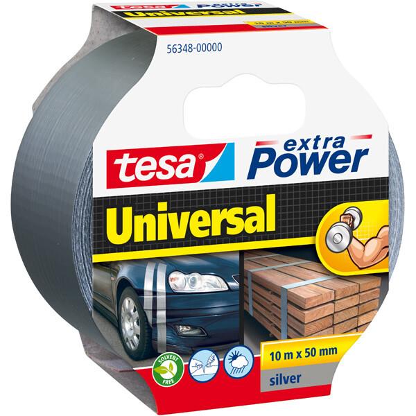 Reparaturband tesa Extra Power Universal 56348 - 50 mm x 10 m silber Folienband gewebeverstärkt für Privat/Endverbraucher-Anwendungen