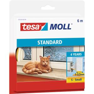 Schaumstoffdichtung tesa tesamoll Standard 5559 - 6 m x 9 mm x 4 mm weiß selbstklebend für 1 - 3,5 mm Spalten I-Profil