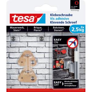 Klebeschraube tesa 77901 - dreieckig beige bis 2,5 kg für Mauerwerk & Stein ablösbar Pckg/2