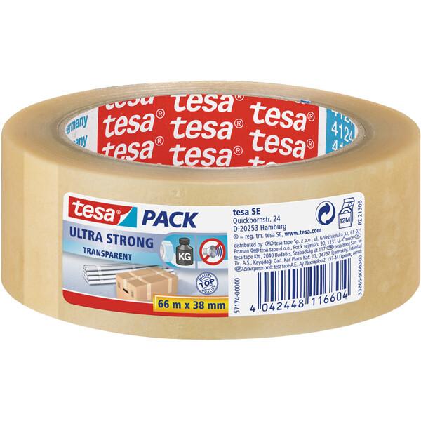 Verpackungsklebeband tesa tesapack Ultra Strong 57174 - 38 mm x 66 m transparent PVC-Band für Privat/Endverbraucher-Anwendungen