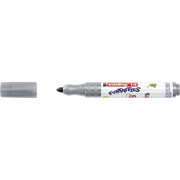 Fasermaler edding Funtastics 14 - grau 3 mm Rundspitze Tinte auf Wasserbasis ergonomischer Griff