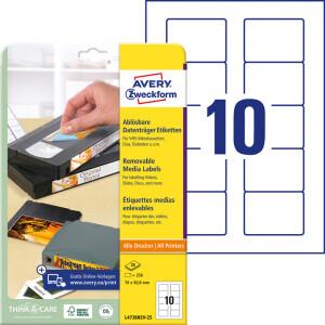 Diskettenetikett Avery Zweckform L4738REV-25 - A4 70 x 50,8 mm weiß ablösbar FSC Papier für alle Druckertypen Pckg/250