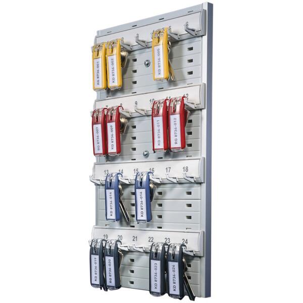 Schlüsselbrett Durable Key Board 1956 - 212 x 362 x 32 mm metalic silber für 24 Schlüsselanhänger