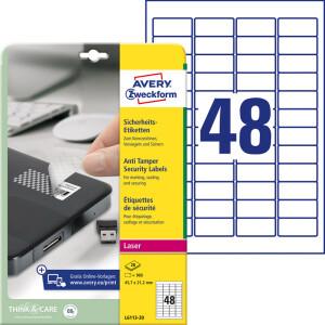 Sicherheitsetikett Avery Zweckform L6113-20 - auf Bogen 45,7 x 21,2 mm weiß permanent manipulationssicher Polyesterfolie für Laserdrucker, Kopierer Pckg/960